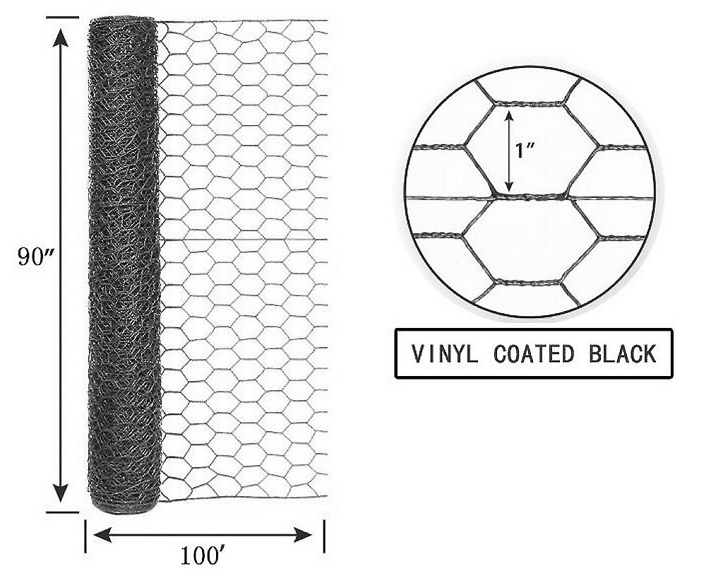 Welded Hex Wire Vinyl Coated Black